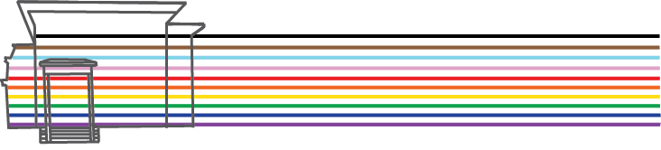 Graphic of the Sloss House with the LGBTQIA+ BIPOC flag