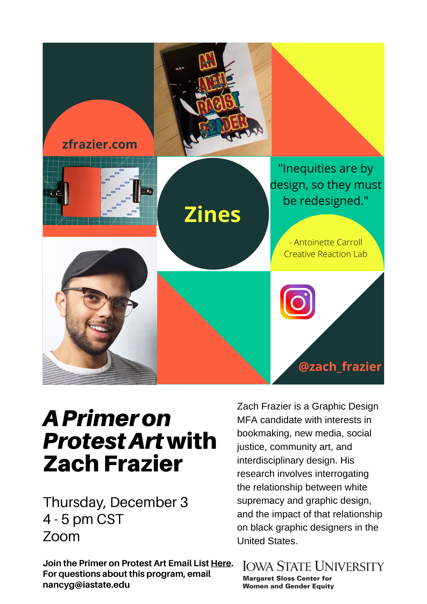 Photo collage of Zach Frazier's visual art and event text