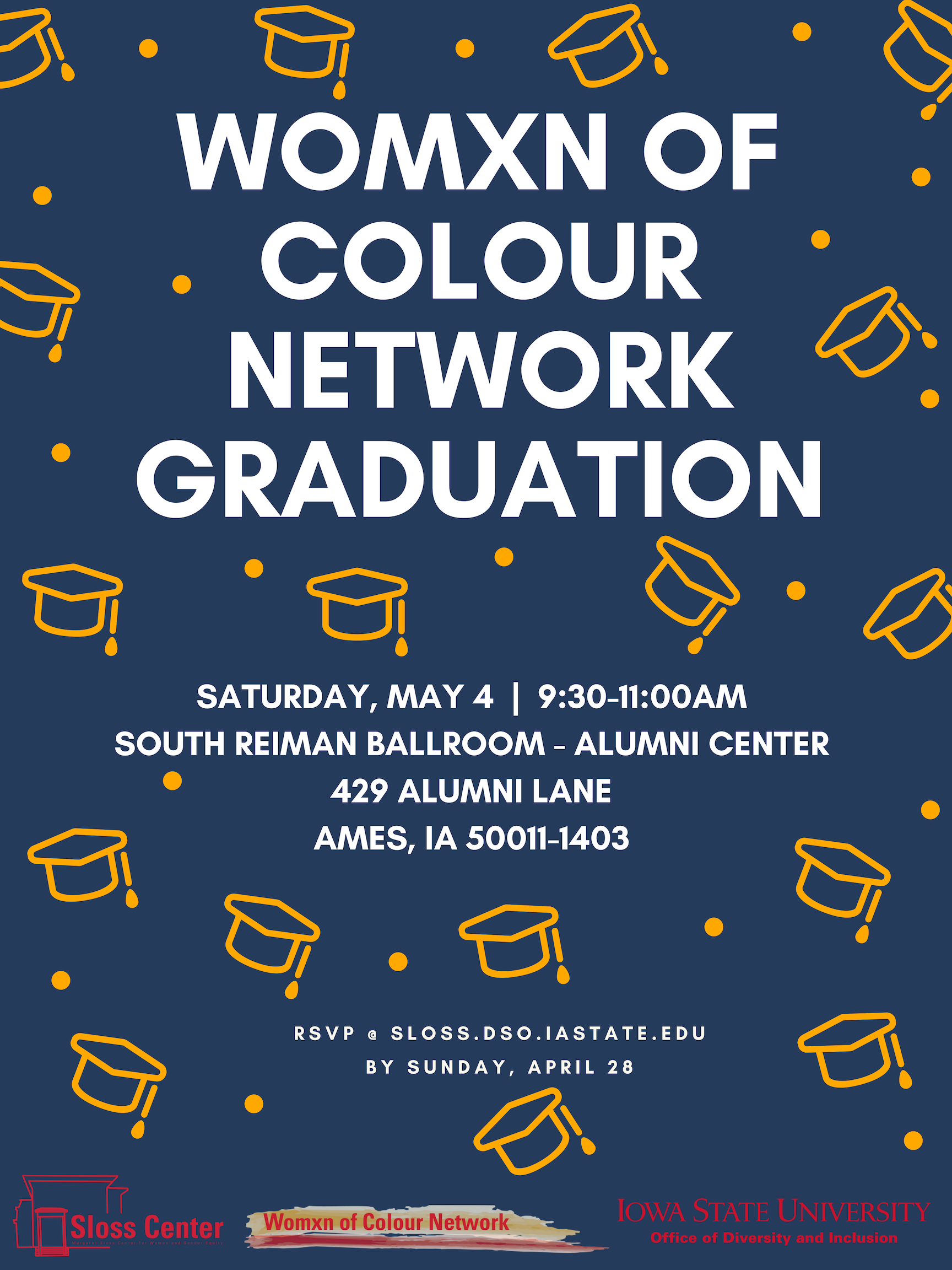 Graphic of: Womxn of Colour Network Graduation on May 4 from 9:30-11:00am at the Alumni Center